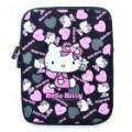 Adorável Hello Kitty padrão dupla com zíper protetora Soft Pouch Bag para iPad 2 - Pink + preto