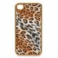 3D Leopard estilo protetor PU couro Case para o iPhone 4 - amarelo + ouro