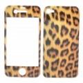 Decorativas protetora frontal + Back cobrir Skin adesivo para iPhone 4 - padrão de leopardo Cool