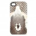 3D Snake imagem estilo protetora Genuine couro Case para o iPhone 4 / 4S - preto + branco