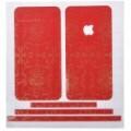 Elegante caso pele cobrir adesivos para iPhone 4 - vermelho + dourado