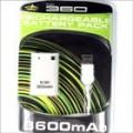 3600mAh direta carga USB Battery Pack para XBox 360