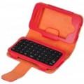 2.4 GHz 49-chave Mini recarregável Bluetooth v 2.0 QWERTY teclado com PU couro Case para o iPhone 4