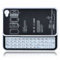 Ultrafinos Bluetooth Slide-Out teclado Hard Case para Apple iPhone 4 - branco