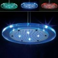8-LED Blue & Red Light Water Temperature Visualizer Sensor rodada Shower Head (8