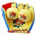 Definir PU couro Baseball Glove & espuma Balls