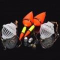 Bóias de pesca dual + isca gaiolas c / 4 ganchos de conjunto