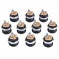 2,5 mm DC Power Jack conector - preto + prata (Pack de 10 peças)