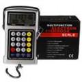 5-em-1 25 KG enforcamento LCD Digital gancho escala + Calculadora de preços, medida de fita adesiva + relógio + termômetro